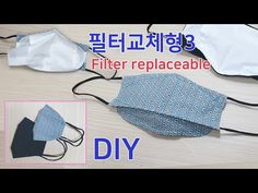 DIY Filter replaceable mask3/Free pattern/필터교체형 마스크 만들기/쉽게 만들수 있는 마스크/패턴공유 - YouTube Sewing Crafts, Sewing Projects, Grow Hair, Hair Growing, Couture Sewing, Diy Mask, Craft Work, Drawstring Backpack, Filters
