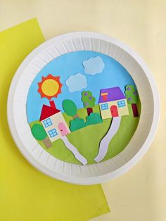 With a little construction paper, glue, scissors, and a paper plate, your child can make the perfect paper plate town kids craft. Garden Crafts For Kids, Cute Kids Crafts, Diy Gifts For Kids, Craft Projects For Kids, Craft Activities For Kids, Toddler Crafts, Crafts For Teens, Teen Crafts, Activity Ideas