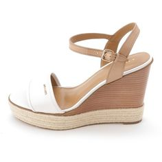 Coach Coach Women's Elda Platform Wedge Sandal ($90) ❤ liked on Polyvore featuring shoes, sandals, brown, brown sandals, wedge thong sandals, espadrille wedge sandals, coach sandals and leather sandals