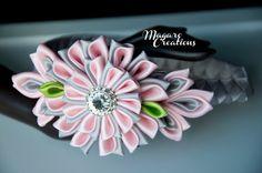 Pink girl headband Kanzashi flower headband by MagaroCreations