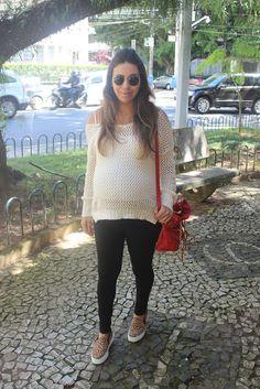 Nanda Pezzi - Look de Grávida: Tricot + Slip on - 37 semanas