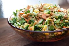 This bok choy and pineapple salad recipe has sliced bok choy, carrots, cucumber, pineapple, and scallions tossed in a peanut dressing.
