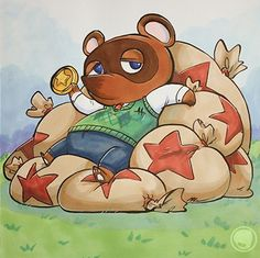 Art inspired by Animal Crossing, Tom Nook | Nintendo 3DS Art created by Megan Lawton