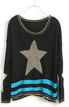Black Long Sleeve Star Embroidery Pullovers Sweater