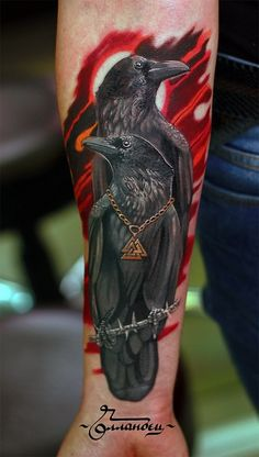 Raven tattoo on forearm new school by Aleksey Scherbakov Viking Tattoos, Cool Tattoos, Animal Tattoos, Tattoos, Tattoos For Guys, Crow Tattoo, Sleeve Tattoos, Tattoo Designs, Tattoos With Meaning
