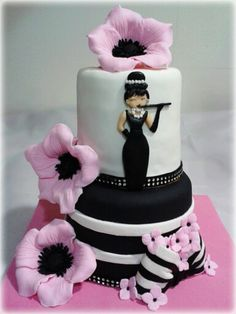 #Audrey Hepburn#tarta#tarta fondant#fondant#cake#audrey cake#rosa#pink#flor#flower#