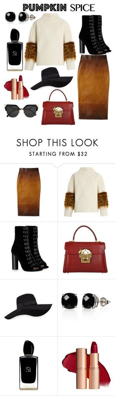 """Pumpkin Spice Latte"" by natalijagrig ❤ liked on Polyvore featuring Saks Potts, Barbara Bui, Dolce&Gabbana, San Diego Hat Co., Belk & Co., Giorgio Armani, Fendi and pss"