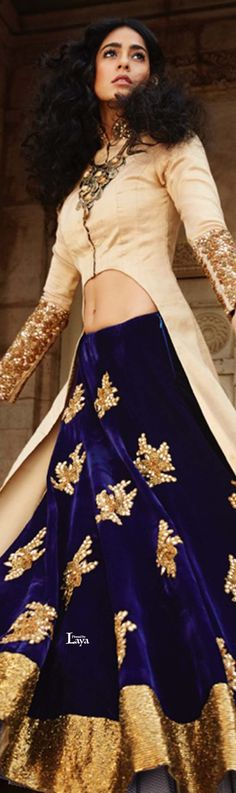 cream and navy blue lehenga