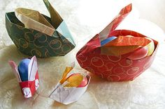 Origami bunny egg holder