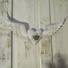 French Nordic angel wings and heart painted white and ashy gray shabby distressed embellished home decor anita spero.
