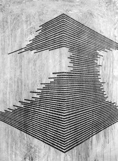 danny jauregui / Ruin Graphite and ash on panel - Art Line Design, Design Art, Graphic Design, Op Art, Textures Patterns, Line Patterns, Geometric Shapes, Geometric Patterns, Line Art
