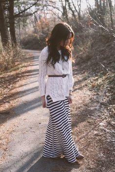 Sweater over striped maxi