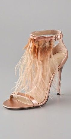 B Brian Atwood Rose Gold Heels feature feather detailing and are the perfect statement shoe