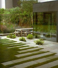 stripes motif garden path ideas