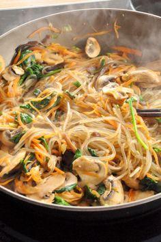 japchae, korean potato noodle