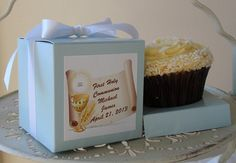 First Communion Personalized Cupcake Box by zoesfavors on Etsy, $39.80