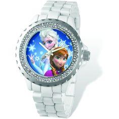Disney Women's Frozen White Bracelet Crystal Bezel Watch ($64) ❤ liked on Polyvore featuring jewelry, watches, blue, crystal crown, dial watches, crystal watches, white crown and disney jewelry