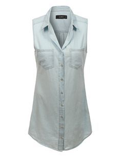 LE3NO Womens Classic Sleeveless Chambray Denim Shirt Dress