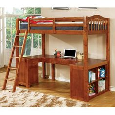 Multi-Functional Wooden Loft Bed with Guard Rails and Lower Work Station with Storage Shelves