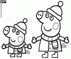 desenho de Peppa e George no inverno para colorir