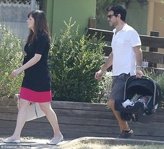 New Girl's new family: Zooey Deschanel was spotted with her baby daughter and husband Jaco...