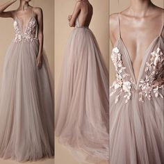 Fashion 2018 New Arrival Tulle Prom Dress,Flowers Appliques Evening Dress,Sexy Deep V-Neck Prom Dress,Open Back Sexy Party Dress