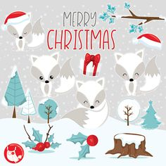 80% OFF SALE Christmas Foxes clipart by Prettygrafikdesign on Etsy