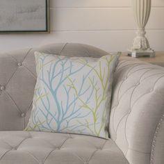 "August Grove Eureka 100% Cotton Throw Pillow Color: Aqua / Green, Size: 22"" x 22"""