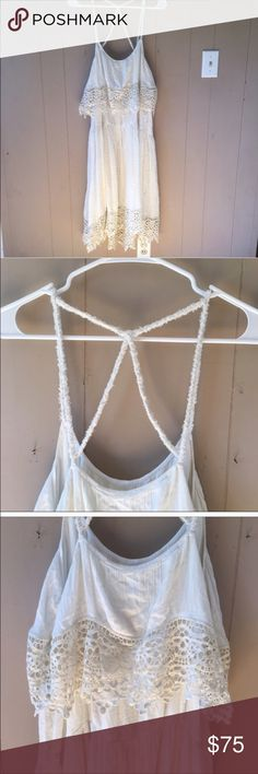Free People lace top slip dress Gorgeous white lined dress with lace that hangs offer the top Free People Dresses Midi