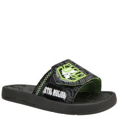 etnies Metal Mulisha Iconic,Black/Green/White,11 M US Little Kid Etnies. $34.95. synthetic. Flexible rubber sole. Synthetic upper with etnies arrow logo. Adjustable hook and loop closure for easy on and off. Bring skater cool along to the beach in this comfy slide sandal. Manmade sole. Cushioned footbed with embossed etnies logo