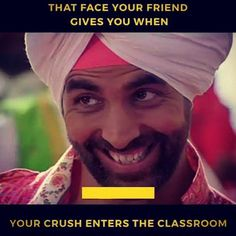 Funny - Kya karun yaar Use dekte hi face pe yuhin smile aajathi hy 'A ' Best Friend Quotes Funny, Funny Qoutes, Jokes Quotes, Funny Relatable Memes, Besties Quotes, Very Funny Memes, Funny School Jokes, Funny Facts, Funny Movie Memes