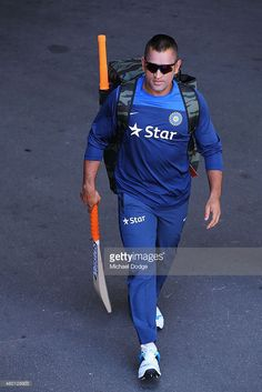 Dhoni walks to the nets during an India Training Session at Adelaide Oval on December 2014 in Adelaide, Australia. Dhoni was earlier announced at a press conference as being withdrawn from the test starting tomorrow in Adelaide. India Cricket Team, World Cricket, Test Cricket, Cricket Sport, Cricket Update, Ms Dhoni Story, Ms Dhoni Wife, Ms Dhoni Photos, Dhoni Quotes