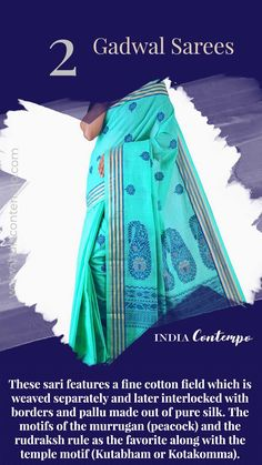 Unnati Silks Women Blue Pure Handloom Gadwal Cotton sari with blouse peice,thread woven elegant pallu with zari stripes border from the Weavers of Gadwal, Andhra Pradesh Indian Fabric, Indian Textiles, Silk Fabric, Ethnic Sarees, Indian Sarees, Indian Culture And Tradition, Saree Border, Fashion Vocabulary, Fabric Names