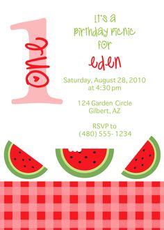 watermelon birthday party invitation (digital - diy)   birthday, Birthday invitations
