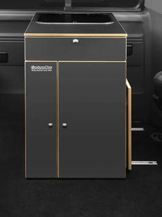Küchenbox II für den VW T5 mit Spüle, Kocher, Kühlbox und Tisch