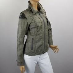 9d6fa181df9 Simon Chang Bomber Jacket Size 6 Full Zip Studs Embellished Gray Stretch   SimonChang  Motorcycle