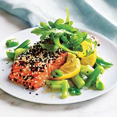Sesame Salmon with Green Onions and Lemon | MyRecipes.com #myplate #protein #vegetables