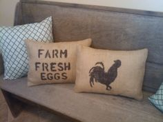 Burlap Pillows! Love the rooster!