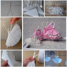 Paper napkin, wire, and glue Ballerinas: click through, then again, for the charmingly translated-from-Russian original post.