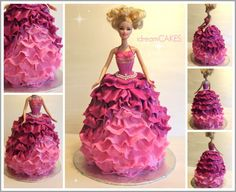 Barbie in Pink Ruffles Cake Pink Ruffle Cake, Ruffles, Doll Cakes, Barbie Cake, Cake Gallery, Disney Princess, Kids, Young Children, Boys