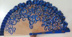 Hand Held Fan, Hand Fans, Painted Fan, Fan Decoration, Kind Of Blue, Vintage Fans, Electric Fan, Diy Fan, Pinwheels