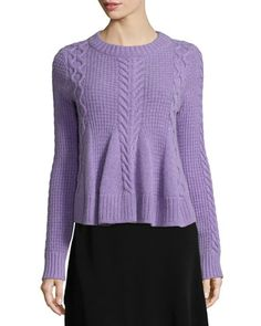 Swing Long-Sleeve Pullover Sweater, Grape at CUSP.