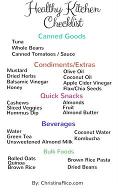 Healthy Kitchen Checklist to get you started!  Quick snacks and foods that you can actually stock up on!
