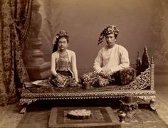 Photograph of a Burmese upper class couple, Burma (Myanmar), probably taken by Philip Adolphe Klier in the 1890s.