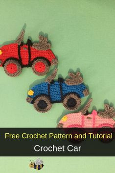 Get this free crochet pattern of a crochet car. This and many other crochet patterns are available on my website, Kerri's Crochet. Learn how to make this crochet car with the free pattern and video tutorial available at Kerri's Crochet. Crochet Applique Patterns Free, Crochet Motif, Crochet Flowers, Hand Crochet, Crochet Stitches, Crochet Appliques, Free Pattern, Crochet Car, Cute Crochet