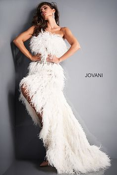 Jovani 04936 Off White High Low Feather Prom Dress White Wedding Suit, Wedding Dress Suit, Gown Wedding, Wedding Reception, Party Dress, Wedding Dresses, White Formal Gowns, White Evening Gowns, Formal Dresses