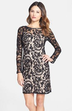 Free shipping and returns on Adrianna Papell Beaded Embroidered Lace Shift Dress at Nordstrom.com. High-contrast embroidery paints a floral pattern throughout this loosely fit illusion-yoke dress. Matching seed beads add hints of sparkle to the long, sheer raglan sleeves.