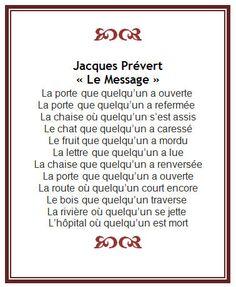 Jacques Prévert - le message Pour revoir le pronom relatif QUE