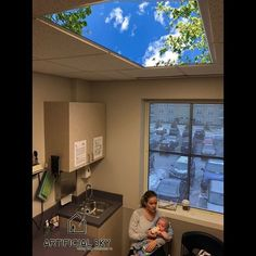 It might be snowing outside but it's a beautiful day in this pediatric office! All Artificial Sky #ledskylights are 20% OFF when #retrofit entire office with all #patient treatment rooms! 150 Lumens/watt will cut your energy bills by 50% or more! #pediatricnurse #pediatrician #pediatrics #pediatricdentistry #pediatriccancer #pediatricdesign #pediatricsurgery #pediatrico #treatmentroom #biophilia #k12 #skyceiling