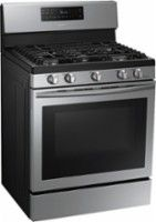 Samsung - 5.8 Cu. Ft. Self-Cleaning Freestanding Gas Convection Range - Stainless Steel - Angle Zoom